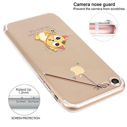 JIAXIUFEN Neue Modelle TPU Silikon Schutz Handy Hülle Case Tasche Etui Bumper für Apple iPhone 6 6S - Amüsant Wunderlich Design Giraffe eating Apple Color32