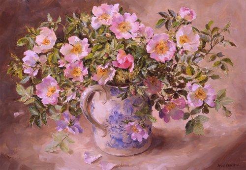 Briar rose-Limited Edition floreale stampa artistica su tela di Anne Cotterill