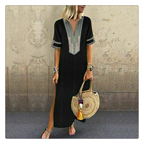 8ec697e3d12 QSAWAL& Women's Lady Summer Short Sleeve Long Dress Casual Long Dresses  Female Casual Loose Split Maxi
