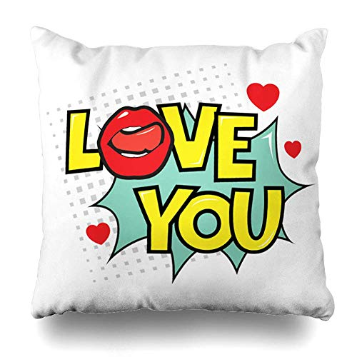 Klotr Kissenbezug Text Cloud Love You Speech Bubble Depicting in Comic Affection Drawing Design Pillowcase Square Size 18 X 18 Inches Zippered Home Decor Cushion Case
