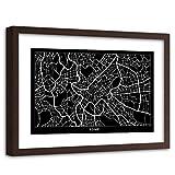 Feeby Poster Enmarcado marrón Rome de la Pared Mapa de la Ciudad Negro 90x60 cm