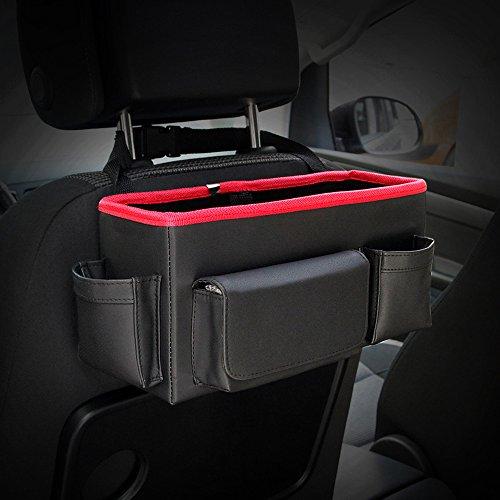 Preisvergleich Produktbild inebiz Luxus Leder Autositz Rückseite Organizer Großes Fassungsvermögen Kopfstütze Aufhängen Aufbewahrungsbox