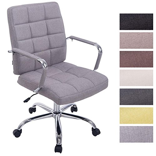 Gepolsterter Drehstuhl (CLP Bürostuhl DELI PRO Stoff Chefsessel Drehstuhl Schreibtischstuhl gepolstert Grau)