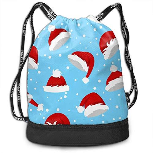 Santa Hats and Snow On Blue Multi-Functional Unisex Beam Mouth Backpack&Drawstring Double Shoulder Bundle Bag Backpack School Sport Gym,Adjustable String Closure -