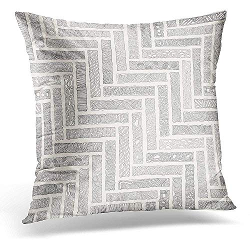 Xukmefat Decorative Pillow Cover Abstract Monochrome Doodle Herringbone Grey Bricks with Wavy Stripes on Beige Patchwork American Indian Throw Kissenbezug Square Home Decor Pillowcase 18x18 Inches -