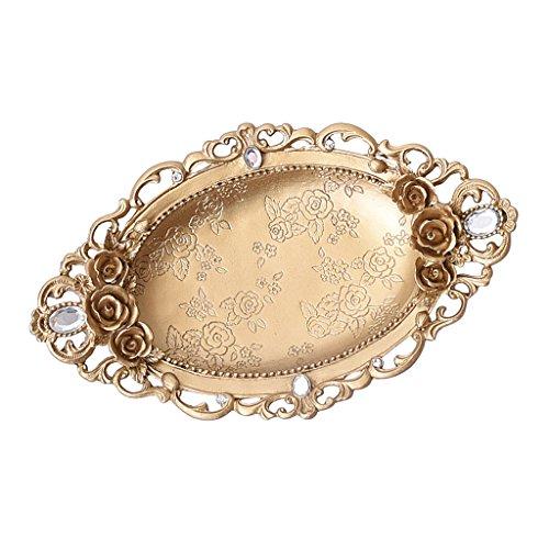 Tablett Schmuck-teller (Homyl Golden Teller Schale Ring Halskette Armband Schmuck Veranstalter Schmuck Tablett)