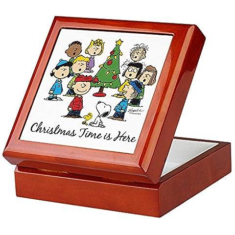 CafePress–The Peanuts Gang: Weihnachten ist hier–Keepsake Box, fertig Hartholz Jewelry Box, Samt Gefüttert Memento Box (Snoopy Charlie Brown Christmas)