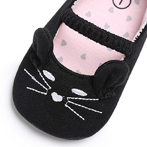 Estamico Neugeborene Baby Mädchen Karikatur Katze Mary Jane Ballerina Krippe Schuhe Schwarz