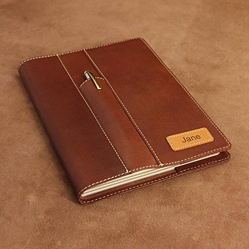A5 Reisenden Ziegenfell Leder Notizbuch, personalisierbar, Business-Style Leder Tagebuch (Front Pen Pocket – mit Namensschild) A5 braun (Front Leder Hobo Pocket)