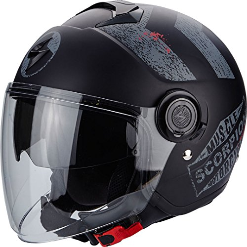 Scorpion Casco Moto EXO-CITY Heritage, Matt Black/Silver, (227 Matt)