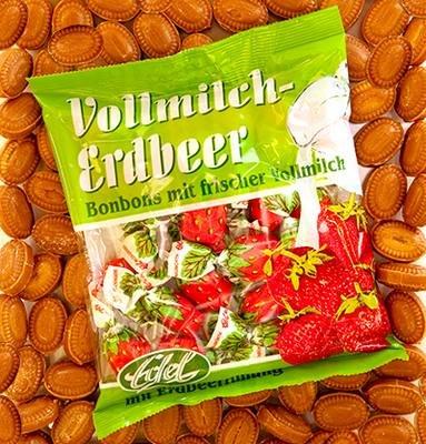 Vollmilch-Erdbeere gefüllt 125 g Beutel Edel-Bonbon (Erdbeer-bonbons)