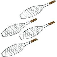 Para freír pescado | para pescado a la parrilla y espátula para pescado, soporte cesta | accesorios de barbacoa de ToCis Big BBQ, Silber mit Holzgriff (57x13 cm)