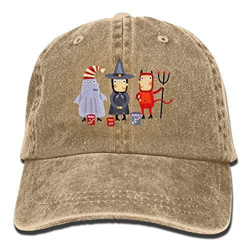 Adult Unisex Cowboy Cap Verstellbarer Hut Evil Witch Ghost Halloween Cotton Denim Halloween Ghost Cowboys