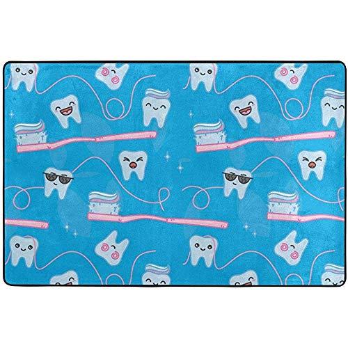 Ruan-Shop Lustige Karikatur-Zähne und Zahnbürste rutschfeste waschbare Teppich-saugfähige Wolldecken für Wohnzimmer-Schlafzimmer