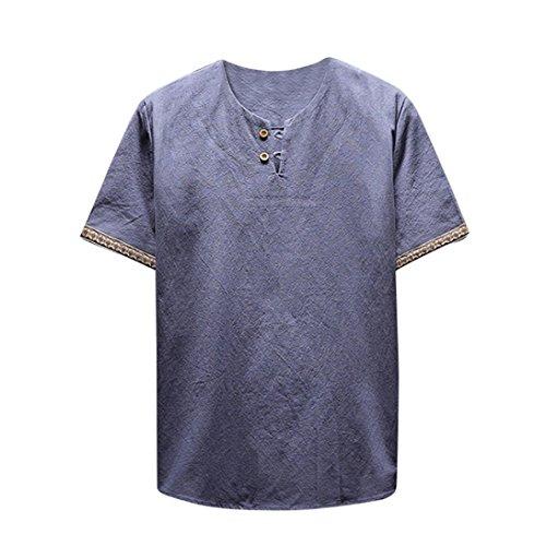 OSYARD Herren Sommer Lässige Bettwäsche und Baumwollmischung T-Shirt Solides Kurzarm Bluse mit V-Ausschnitt Tops
