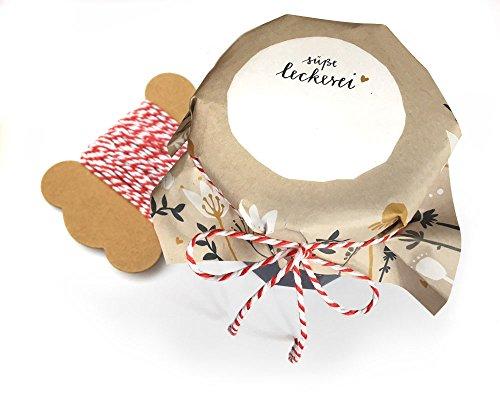 25 Marmeladendeckchen in Creme, petrol, Gelb, Blau, Weiß, Abreißblock mit Blumen, retro, florale Gläserdeckchen zum selbst beschriften für Eingemachtes & selbstgemachte Marmelade, Recyclingpapier + 10 m Bakers Twine & Justiergummi