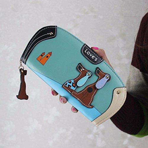 Portafoglio Donna Cucciolo Del Fumetto Porta Carte In PU Pelle (Marrone) Verde