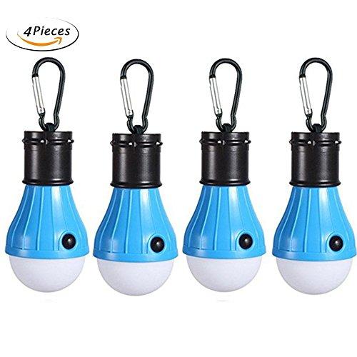 Florally Camping Lantern, 4 Stücke Camping LED Campinglampe mit Karabiner, 3-Helligkeit Modus,Tragbare Laterne Zelt Leuchtmittel Zeltlampe Glühbirne Set für Camping, Abenteuer,Angeln (Blau)
