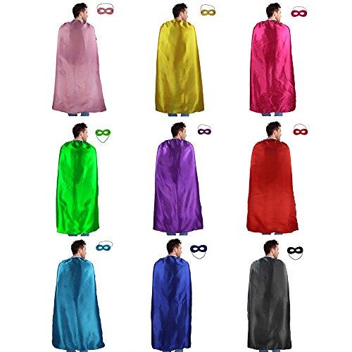 10 Stück Superhelden Umhang & Augen Maske Verrücktes Kleid Kostüme für Männer & Frauen Partyzubehör(110 cm) (Damen Superheld Kostüm)