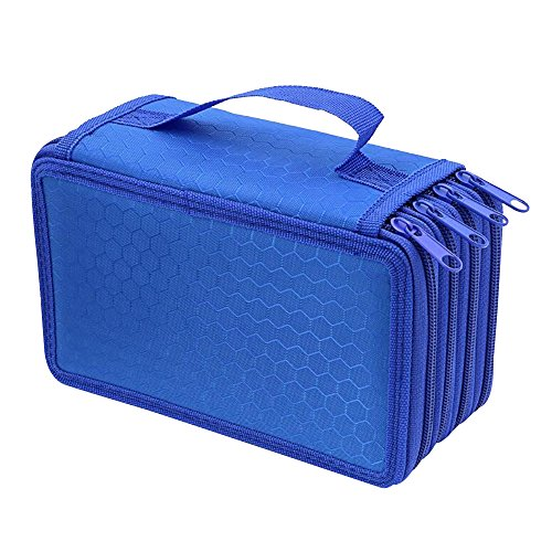 Sktic Multifonctionnel Portable 72 Pcs Sac a Crayon Pinceau Trousse de maquillage Crayon de Couleur Pochette sac cosmétique Dessin au Crayon Voyage Sac de Style Brush Bag Pen Pencil Croquis Coque Case Makeup bag Cosmetic Bag Trousses en tissu - Bleu