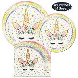 AMZTM Vaisselle Assiettes Serviettes de Licorne Magique - 48 Pièces Ensemble de Articles Décorations de Fête pour Les Enfants Filles Fête d'anniversaire Baby Shower (Rainbow)
