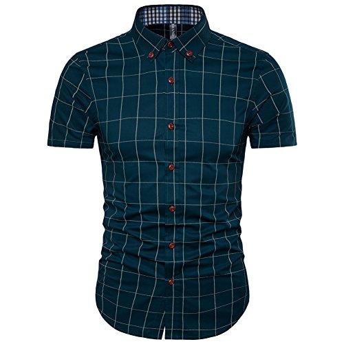 AIYINO Herren Freizeit Hemd Kariert Drucken Kontrast 100% Baumwolle Business Langarmshirts 13 Farben (X-Large, G-Eisblau)