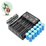 12-Pcs 16340 CR123A 3.7V Rechargeable Brand New Li-ion Batteria + USB 4 Caricabatterie + Torcia LED KIT