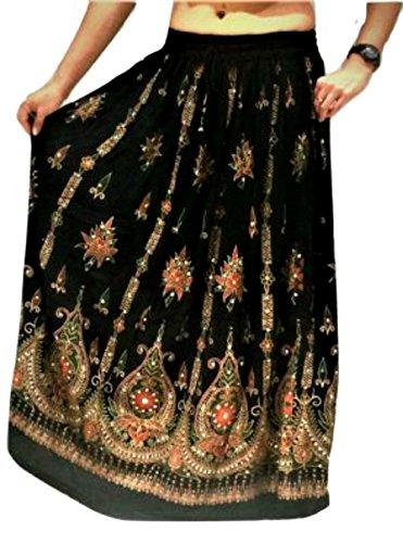 Atemberaubende Damen Indische Boho Hippie Zigeuner Sequin Sommer Sommerkleid Maxi Rock M L (BLACK2) (Falten Rock Kordelzug)