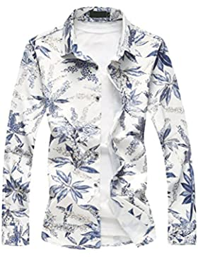 Zhhlaixing Camisa de primavera de los hombres Men's Middle-aged Man Spring Long Sleeve Floral Swimming Holiday...