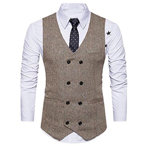 Piebo Mann-Formale Tweed-überprüfung Weste Retro Klage-Jacke (Khaki, M) (Weste Khaki Kleidung : Damen)