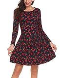 Finejo Damen Skaterkleid Elegant Kleider Basic Kleid A-Linie Partykleider O-Ausschnitt mit Falten Rock Weihnachten Swing Kleid (XL, xPAT1)