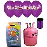 Desechable de helio Cilindro de gas con 50 Deep Purple Globos y Cinta Curling incluido