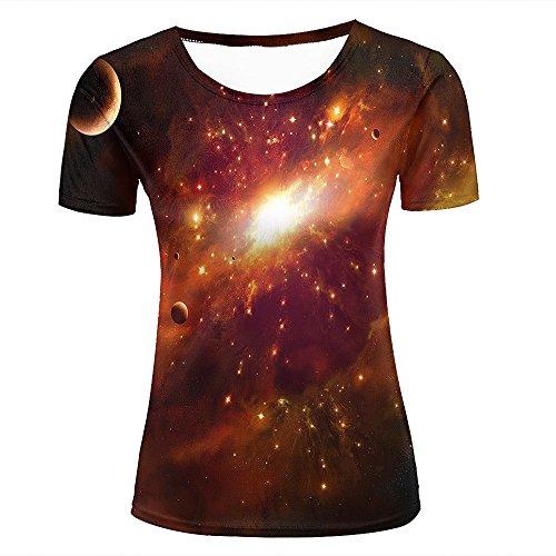 Herren Damen T Shirt 3D Printed Graphic Shirt Mars Nebula/Galaxy Asteroid Short Sleeve Shirts Summer Casual Tops Tees L