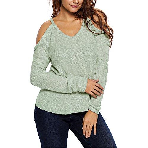 Uranus Damen Kalte Schulter Stricken Lange Ärmel Zur Seite fahren Sweatshirt Oberteile Bluse Tunika Grün (Tunika Jacke Stricken)