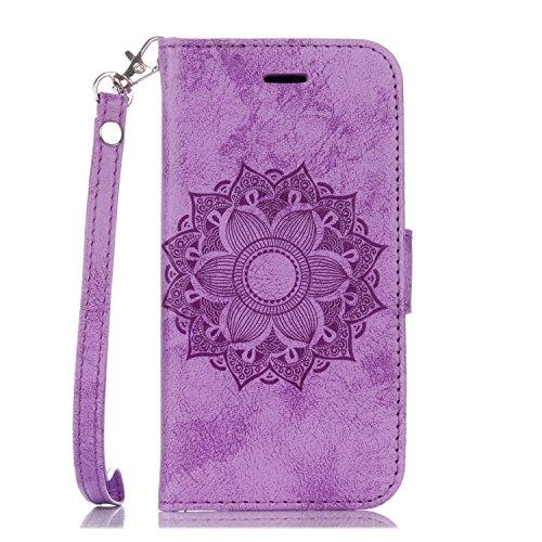 EKINHUI Case Cover Für IPhone 6 Plus & 6s Plus PU Ledertasche, Mandala Blume geprägtes Muster Schutzhülle Folio Flip Stand Brieftasche Tasche mit Lanyard & Halter & Card Cash Slots ( Color : Brown ) Purple