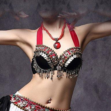JXILY HJL Bauchtanz-Tops(Schwarz,Baumwolle Polyester Metall,Bauchtanz) - fürDamen BH Ärmellos Niedrig, Black, m (Traditionelle Tanz Kostüm Von Indien)