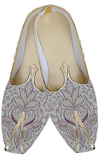 inmonarch Herren trendigem Lila Creme indischen Hochzeit Schuhe mojari mj155 Purple-cream