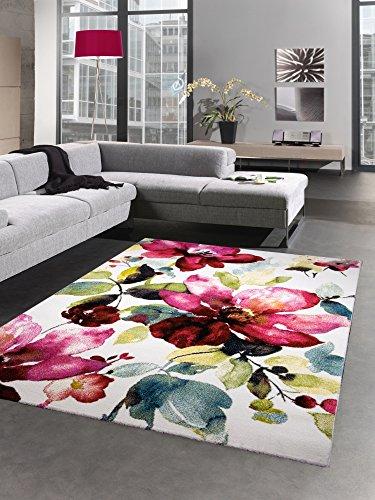 Blüte Grün-teppich (Moderner Teppich Kurzflor Wohnzimmerteppich Blumen Blüten bunt rot grün türkis Größe 120x170 cm)