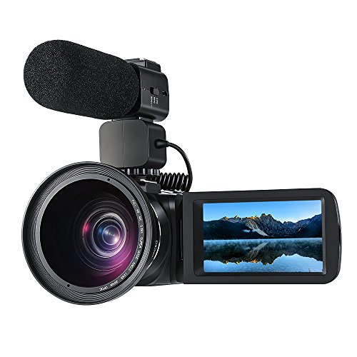 ORDRO Professionelle 10x optischer Zoom Camcorder Full HD 1080P 30FPS digitale Videokamera mit Externem Mikrofon und Weitwinkelobjektiv 3,0 Zoll LCD Touch Screen Fernbedienung (Z82+M+W)
