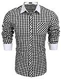 Burlady Herren Trachtenhemd Langarm Bügelleich Karierte Hemden Freizeit Karohemden für Oktoberfest
