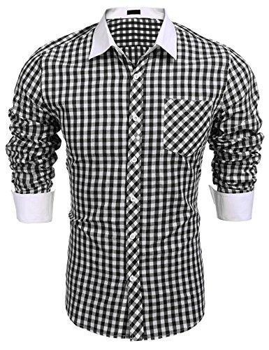 Burlady Herren Trachtenhemd Langarm Bügelleich Karierte Hemden Freizeit Karohemden für - Herren Holzfäller Kostüm