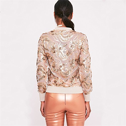 Reißverschluss Zip Vorne Gold Foil Blumen Embroidery Open Spitze Netz Bomberjacke Blouson Jacket Jacke Oberteil Top Beige - 4