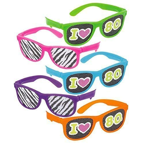 Fancy Me Herren Damen 80s Jahre 1980s Jahre Paar Eighties Party Bunt Neon Brillen Wayfarer Junggesellenabschied Party Nacht Kostüm Verkleidung Zubehör