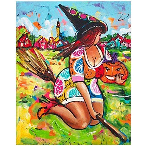 (Leezeshaw 5D DIY Diamant Malen nach Zahlen Kits berühmte Strass-Stickerei Gemälde Bilder für Home Decor – Fat Hexe (30 x 30 cm) Frameless Fat Witch)