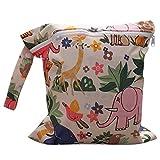 Newin Star Tasche für Windeln Wiederverwendbare Wasserdicht mit Reißverschluss von Stoff für Neugeborene (Typ Tier Beige)