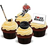 NOVELTY ICE HOCKEY MIX - Birthday / Sport / Special Occasion Standups 12 Edible Standup Premium Wafer Cake Toppers