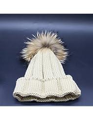 Wenxin0815 Hat Gorro De Punto Otoño Invierno Amplio Borde Tricotado Tapa Exterior Engrosada Cálida Gorra Mujer,Beige