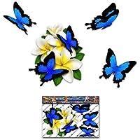 Fiore Bianca Frangipani Plumeria Piccolo Grappolo + farfalla adesivo autoadesivo auto - ST00046WT_SML - JAS Stickers