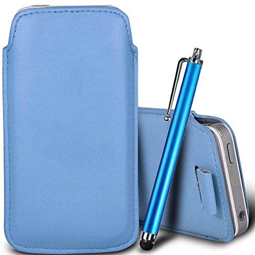 Brun/Brown - ZTE Blade G Housse deuxième peau et étui de protection en cuir PU de qualité supérieure à cordon avec stylet tactile par Gadget Giant® Bleu Baby & Stylus Pen