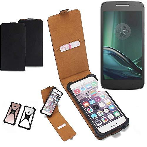 K-S-Trade Flipstyle Case für Lenovo Moto G (4. Gen.) Play Schutzhülle Handy Schutz Hülle Tasche Handytasche Handyhülle + integrierter Bumper Kameraschutz, schwarz (1x)